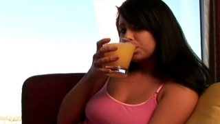 Irressistible teen cutie Josie drinking whisky with ice on the couch