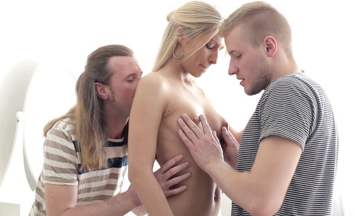 Jenya gets her 18 year old pussy pounded by two guys in her virgin sex