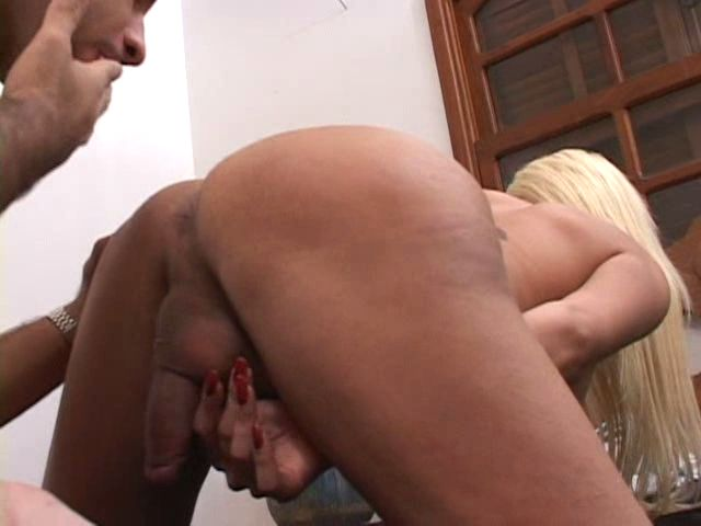 Kinky blonde tranny undressing mini pink skirt and getting ass nailed
