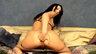Kinky brunette army babe Victoria Sin fingering her sexy ass