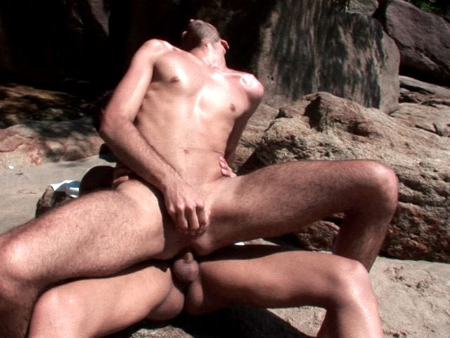 Kinky brunette gay Kaike riding anally Junior Bastos's monster cock on an island