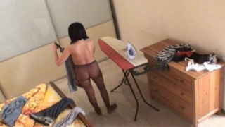 Kinky Voyeur Girl Miki In Nylons Iron Her Clothes And Show Tits