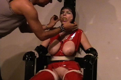 Lady in Red Breast Bondage Videos XXX Porn Tube Video Image