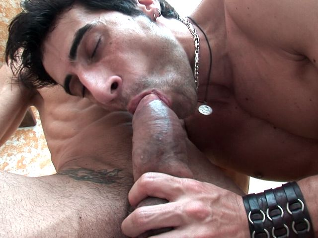 Lecherous brunette gay Apolo gives oral sex to handsome Fernando on the camera