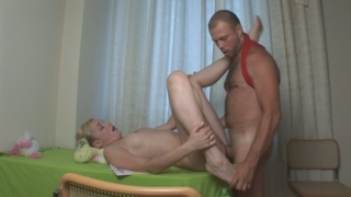 Leggy blond virgin gets slammed with a cock.