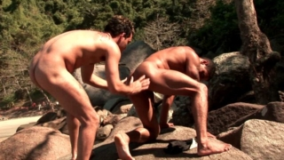 Lovable Gays Alber Charles And Anthony Gimenez Fingers And Licks Their Tight Assholes Outdoors