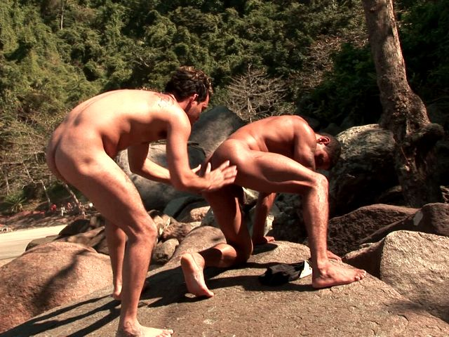 Lovable gays Alber Charles And Anthony Gimenez fingers and licks their tight assholes outdoors Free Gay Porn Access XXX Porn Tube Video Image