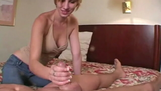 Lovely Blond Ex-girlfriend Slut Sandi Plays With Her Boobs And Gives Handjob