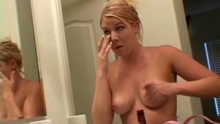 Lovely blonde exgirlfriend babe Jessie showing her sexy tits in the mirror
