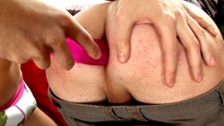 Lovely gay Albert getting round ass smashed by Tommy with a large pink dildo