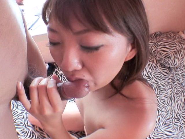 Lovely Japanese girl Yu Shiraishi licks and slurps a big cock