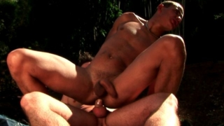 Loving amateur gay Andre gets butt smashed by Felix's large cock outdoors