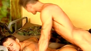 Lucky gay gets butt fucked and cock sucked by two horny guys