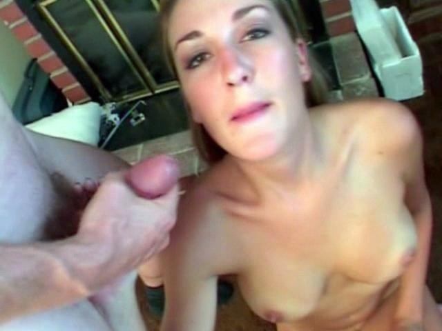 Luscious blonde babe Brie sucking two massive cocks and getting facialized