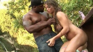 Lustful Bitch With Large Tits Rita Faltoyano Gets Slit Fingered And Licked By A Black Stud Outside