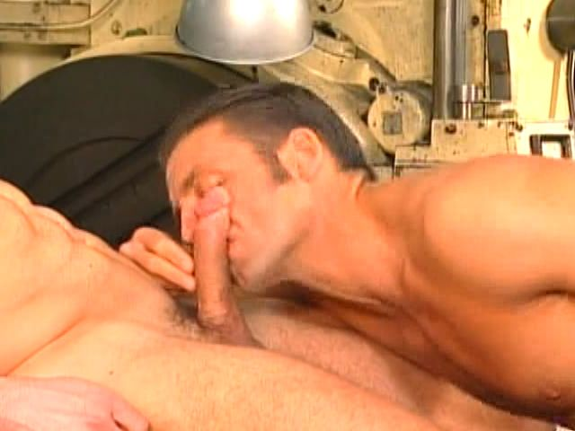 Lustful brunette gay sucking a thick schlong on his knees