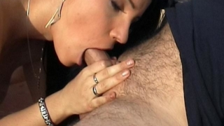 Lustful brunette Laura Lion slurping a massive prick for fresh cum