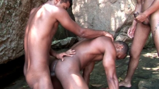 Lustful dark skinned gays Bruno, Junior and Thiago sucking their huge dicks with lust outdoors