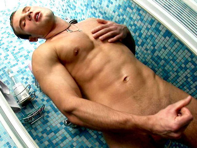 Lustful European twink Stefan showing hot muscles and jerking off his large cock in the shower