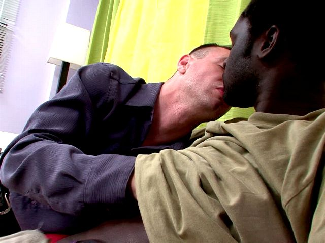 Lustful white gay John touching Canu's black sexy body and tasting his impossible chocolate cock