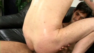 Magnificent gay Steeve sucking and riding two gigantic cocks on the couch