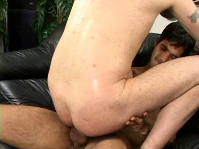 Magnificent gay Steeve sucking and riding two gigantic cocks on the couch Impossible Gay Cocks XXX Porn Tube Video Image