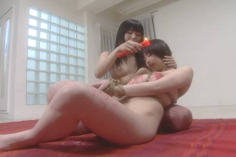 Mayura and Kasumi drip candle wax while bound Asians Bondage XXX Porn Tube Video Image