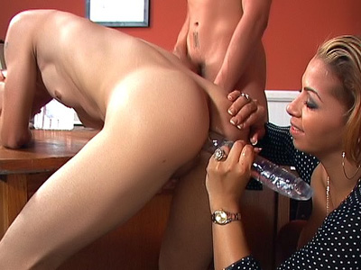 Mercedes Dildoing Two Bi Men