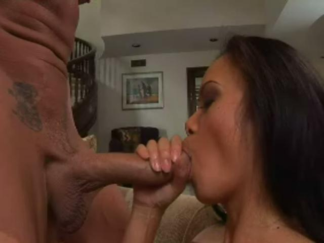 Mya Luanna goes on her knees and sucks this white dick good