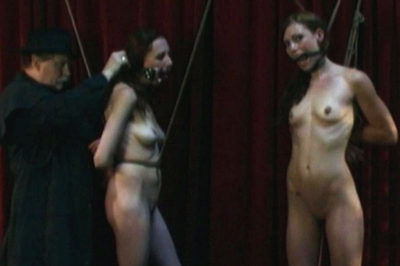 Naked slaves tied up