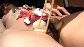 Naked sushi and group sex with Yui Hanasaku