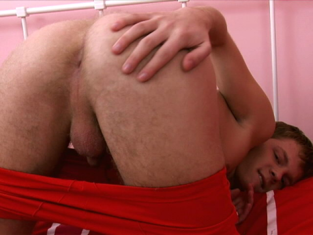 Nasty gay stripping his red briefs and rubbing his sexy asshole