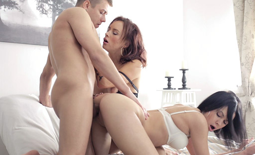 Naughty 18 year olds enjoy losing virginity in style by having threesome during virgin sex