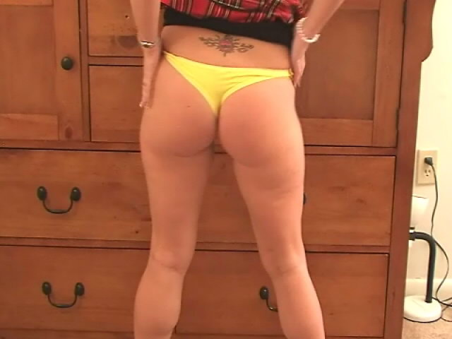 Naughty blond wife in mini skirt Tessa stripping and showing her sexy tits