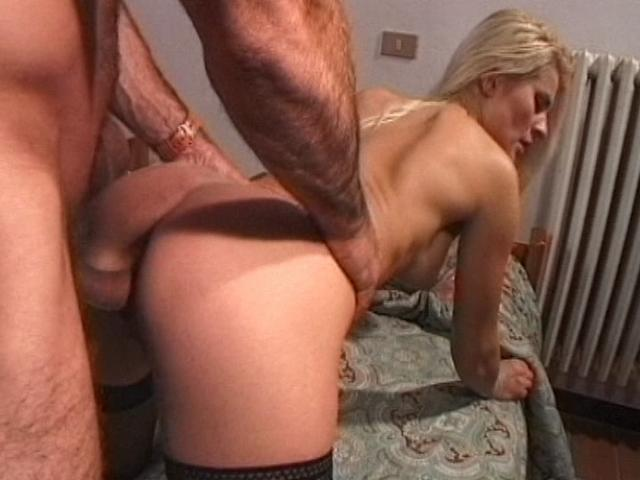 Naughty blonde slut in stockings getting fucked doggy style