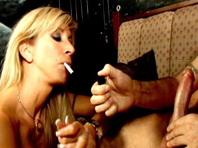 Naughty blonde stunner Morgan Ray smoking and sucking a massive penis on her knees