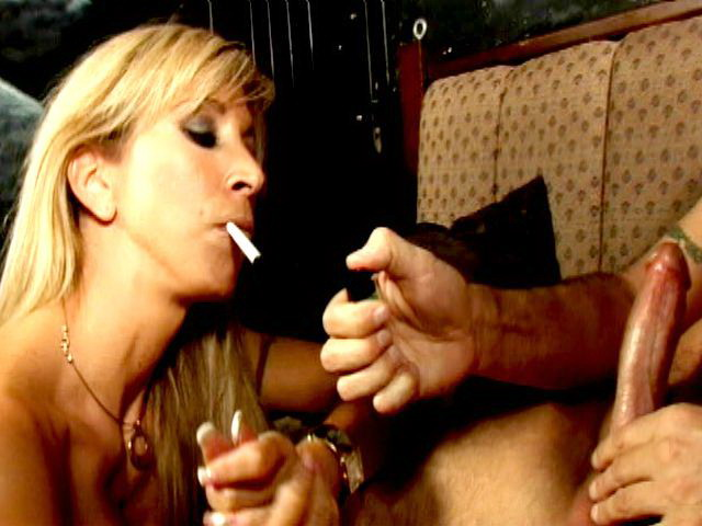 Naughty blonde vixen Morgan Ray smoking with lust and sucking a massive phallus