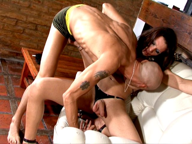 Naughty brunette tranny babe Triany gets cock jerked and sucked by a bald stud