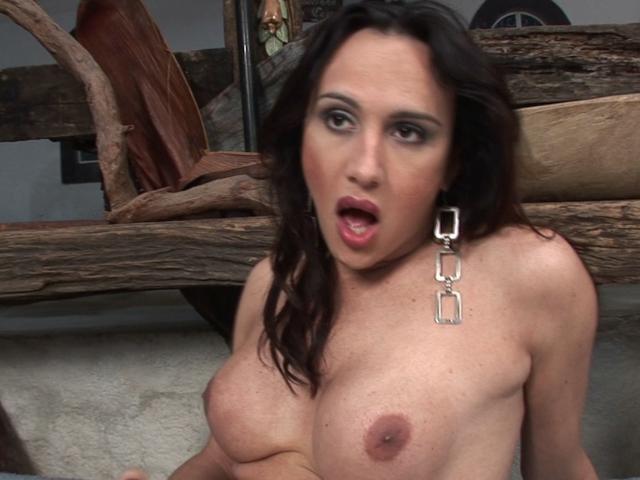 Naughty brunette tranny Dani wanking her big cock
