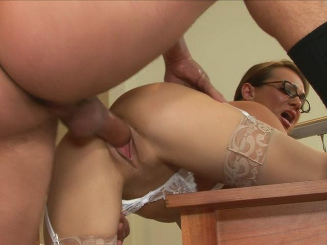 Needy brunette secretary Holly West gets her pink pussy fucked
