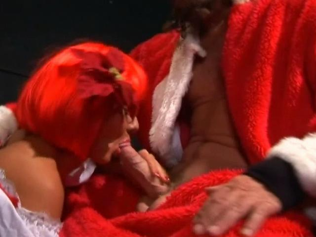 Needy Sandra Romain takes Santa's dick in her mouth and sucks it