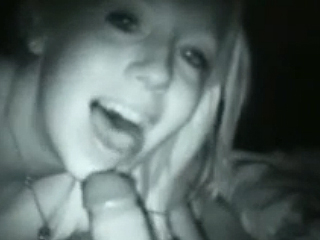 Nightvision tape of real girl next door giving oral sex