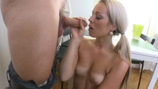 Nona Gets On Her Knees And Sucks Her Mans Cock And Feels His Cum And Cock Down Her Throat.