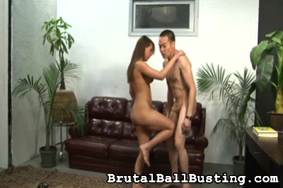 Our Asian guy loves the taste of sweat. Brutal Ball Busting XXX Porn Tube Video Image