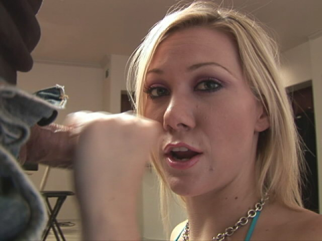 Passionate blonde girl Sammy sucking a huge schlong on her knees