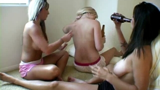 Passionate exgirlfriend slut Jessie gets big breasts massaged by her lesbian friends