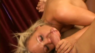 Perverse blonde pornstar Sophia sucking an enormous cock with lust