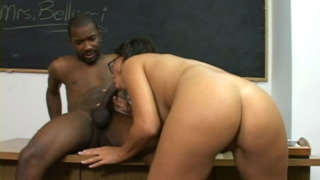 Perverse Brunette Teacher Maria Bellucci Stripping Panties For The Black Student In Classroom