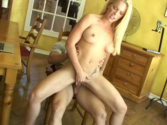 Pierced and tattooed busty mature babe Heidi Mayne riding a large dick