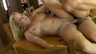 Pierced blonde mature honey Heidi Mayne gets fucked from behind on the table